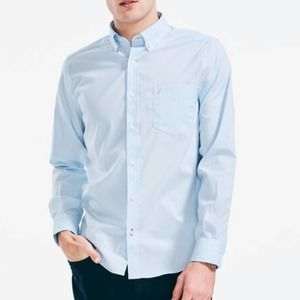 NAUTICA BLUE CLASSIC FIT WRINKLE-RESISTANT SHIRT